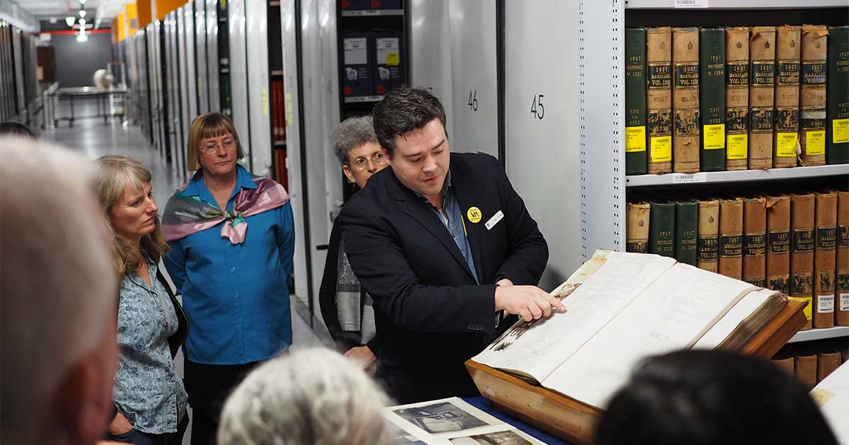 A tour of the Archives at Public Record Office Victoria (PROV). Image courtesy of PROV.