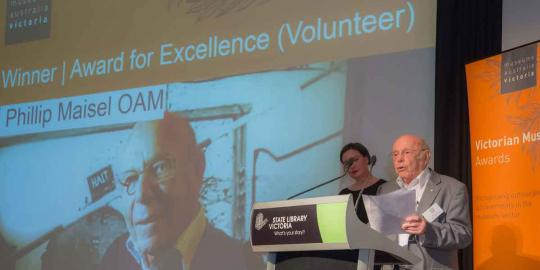 Phillip Maisel AOM of the Jewish Holocaust Centre receives the MA (Vic) Individual Award for Excellence (Volunteer)