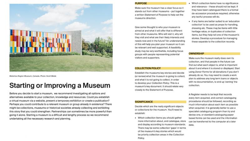 Starting or Improving a Museum