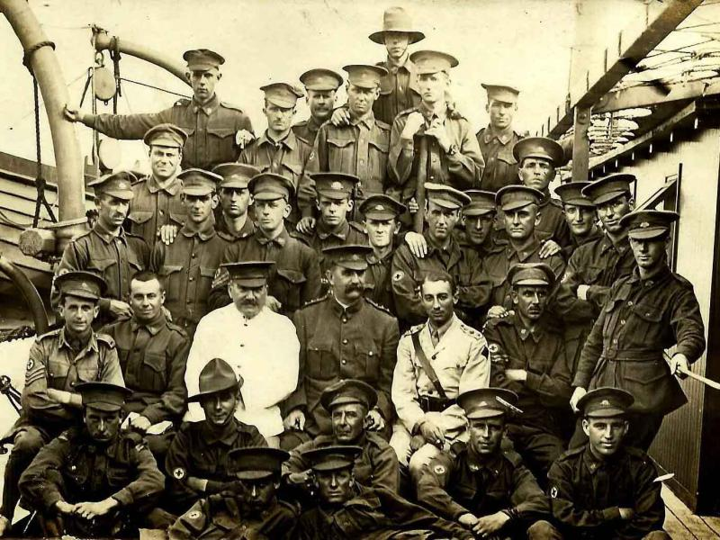Travelling on the H.M.A.T. 'DEMOSTHENES'. Bob sailed from Melbourne on 29 December 1915 as part of the 8th Reinforcements, 6th Field Ambulance, Army Medical Corps.