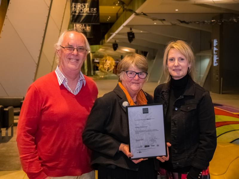 Image: Angela Henricksen, Archival Survival, with Chris Dormer and Andrew Boc, from the Stanley Athenaeum, winner of the Archival Survival Award for Volunteer-Run Museums. Photo: Simon Fox, Deakin University.