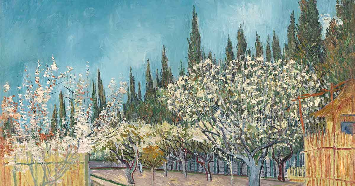 Image: Vincent van Gogh, Dutch 1853–90, Orchard bordered by cypresses, April 1888, Arles, oil on canvas 64.9 x 81.2 cm, Kröller-Müller Museum, Otterlo, © Collection Kröller-Müller Museum, Otterlo, the Netherlands.
