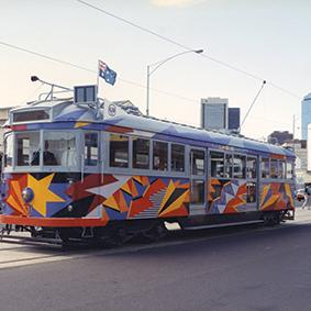 Lesley Dumbrell's No. 731 tram, 1986. The artwork represents the electric power that moves the tram and characterises the energy of the 1980s in Melbourne. Photo courtesy Public Record Office Victoria.