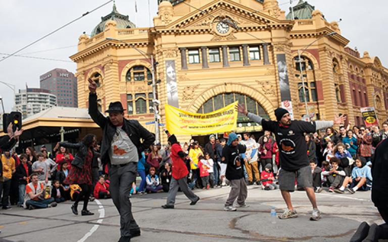 NAIDOC March from Aboriginal Health Service on Nicholson Street to the Federation Square, 2012. Photographer: Rodney Start. Source: Museums Victoria.
